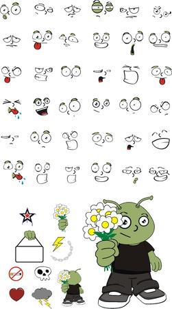 alien kid cartoon set Stock Vector - 9536575