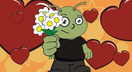 alien kid cartoon background Vector
