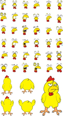 with sets of elements: chicken cartoon set