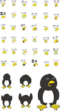 pinguino caricatura: conjunto de dibujos animados de ping�inos Vectores