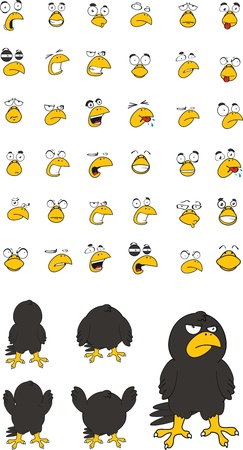 crow cartoon set