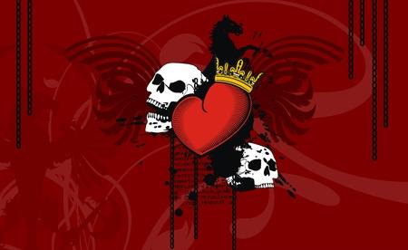 heraldic heart background Vector