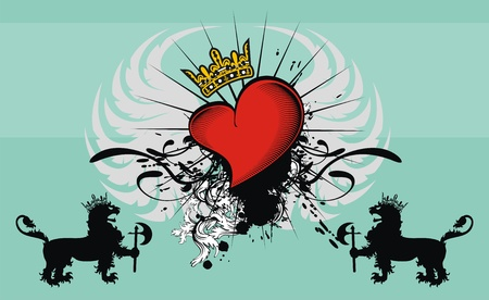 heart: heraldic heart background Illustration