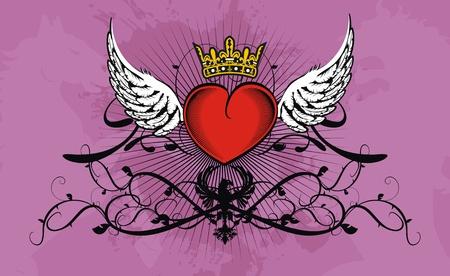 corazon con alas: Fondo de coraz�n her�ldico