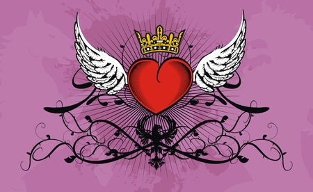 heart wings: heraldic heart background Illustration