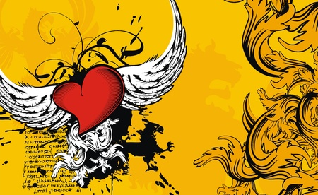 heart with crown: heraldic heart background Illustration