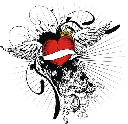 ribbon heart: heraldic heart in vector format