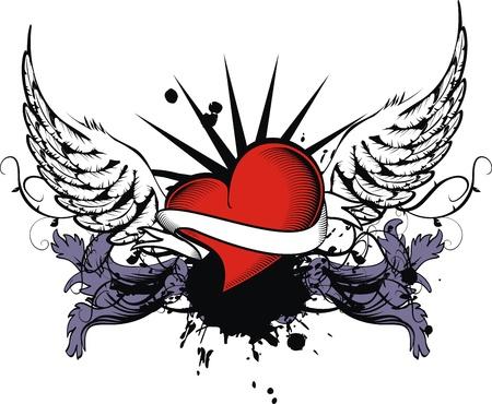 ベクトル形式の紋章の心  イラスト・ベクター素材