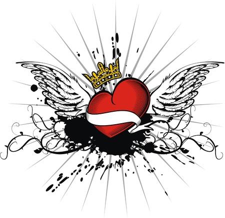 heraldic heart in vector format Vector
