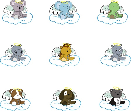 animal angel cartoon set pack2 Vector