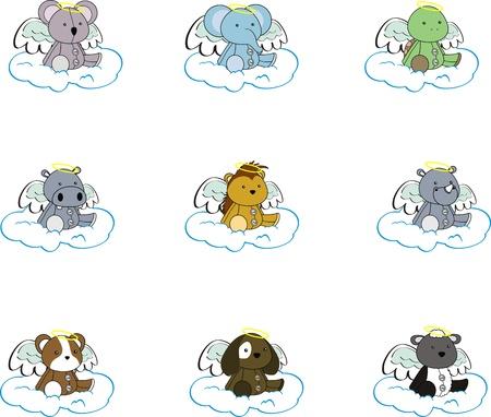 hippopotamus: dibujos de animales �ngel establecer pack2 Vectores