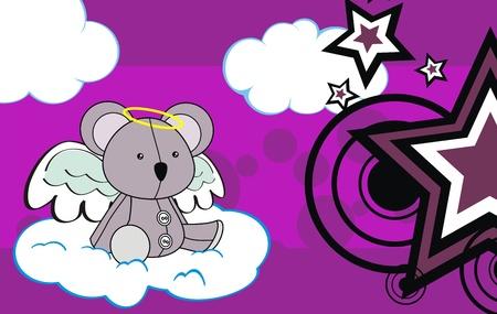 koala angel cartoon background in vector format Stock Vector - 9632221