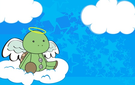 turtle angel cartoon background in vector format Çizim