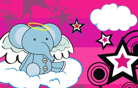 elephant  angel cartoon background in vector format
