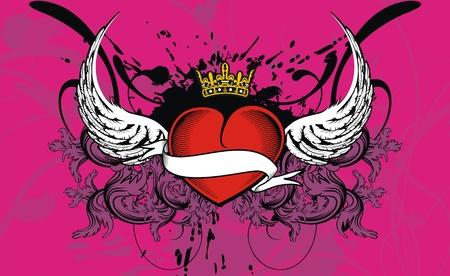 heraldic wingedheart background in vector format Vector