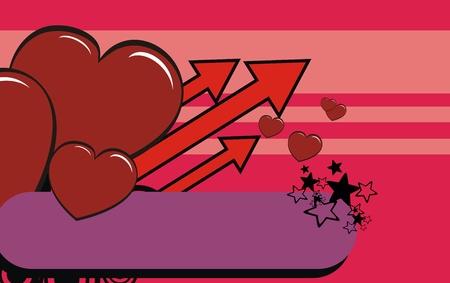 ベクトル形式でハート漫画の背景バレンタイン  イラスト・ベクター素材