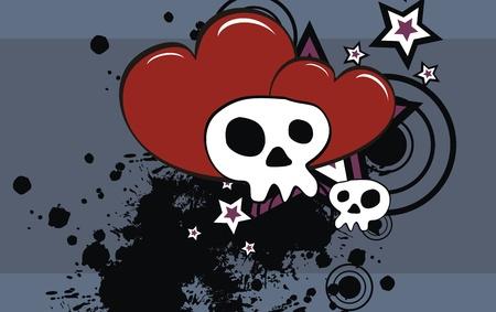 skull cartoon background in vector format Vector