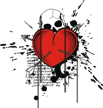 Heraldische hart voor tshirt in vector-formaat Stockfoto - 9680302