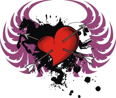 heraldic heart for tshirt in vector format Vector
