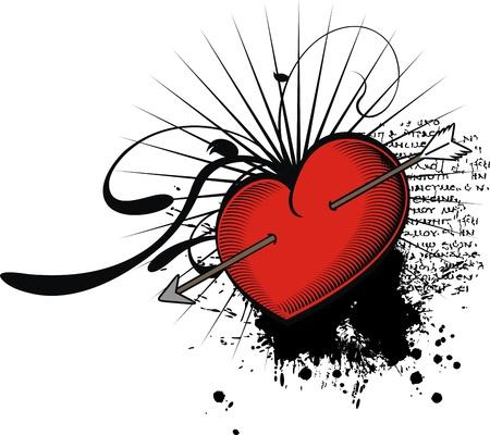 Heraldische Herz für T-Shirt im Vektor-Format Standard-Bild - 9680305