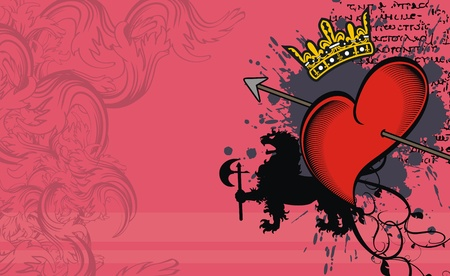heradische hart achtergrond in vector-formaat Stock Illustratie