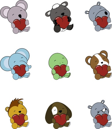 animal baby heart cartoon set in vector format very easy to edit Illustration