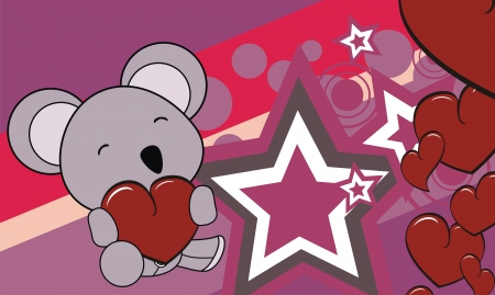 edit valentine: koala cartoon valentine background in vector format very easy to edit