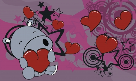 hippo cartoon valentine background in vector format very easy to edit Stock Vector - 17040715