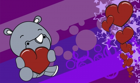 edit valentine: rhino  cartoon valentine background in vector format very easy to edit Illustration