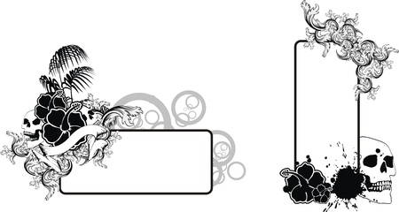 tattoo design: tropical flower skull background in vector format very easy to edit Illustration