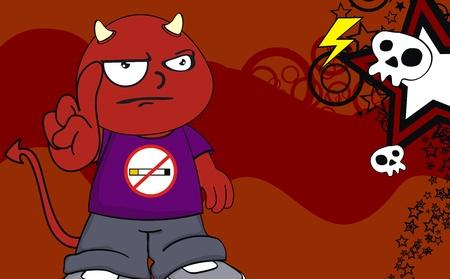 demon kid cartoon background in vector format Vector