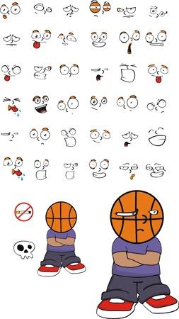 basketball kid cartoon set in vector format Vector