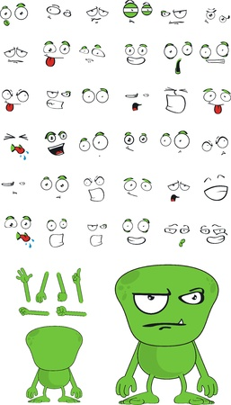 alien cartoon set  Vector