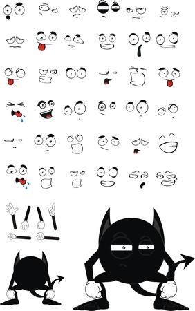demon black cartoon set