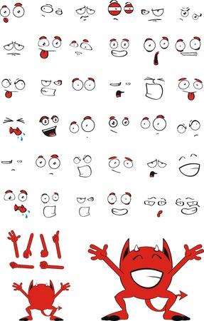 cartoon mouth: demon red cartoon set