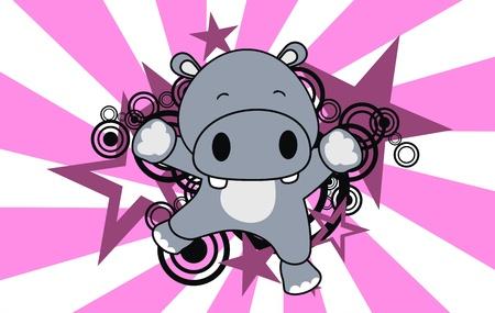 hippo jump cartoon background  Ilustracja