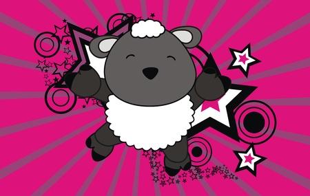 sheep jump cartoon background Stock Vector - 9812287