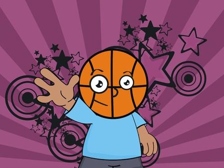 basketball kid cartoon background  Vector