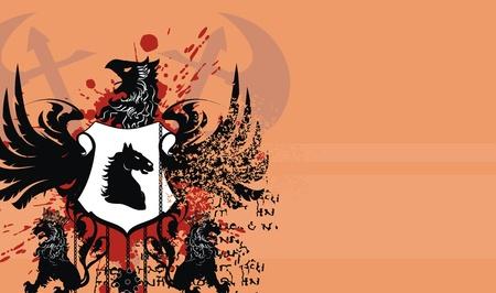 tattoo design: heraldic coat of arms background Illustration
