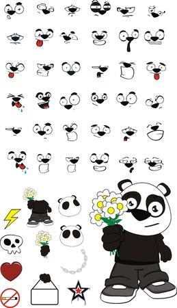 panda kid cartoon set in vector format Vector