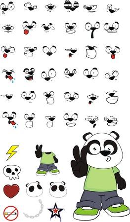 팬더 아이 만화 벡터 형식으로 설정