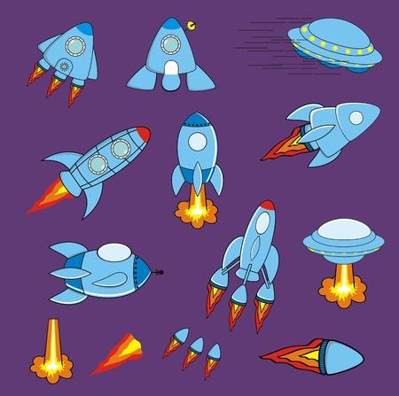 宇宙船漫画セット ベクトル形式で