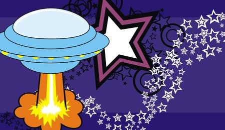 spaceship cartoon background in vector format Vector