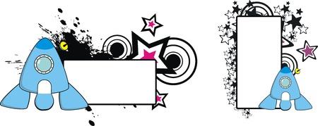 spaceship cartoon copyspace in vector format