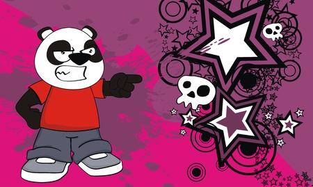 panda kid cartoon background in vector format Vector