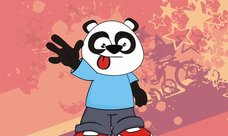 panda kid cartoon background in vector format
