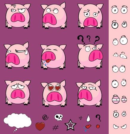 pig ball cartoon set in vector format Illustration