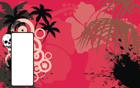 skull tropical hawaii background in vector format Vector