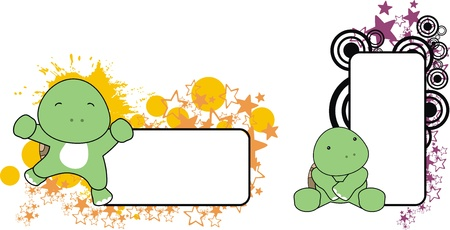 baby turtle copyspace  in vector format Ilustrace