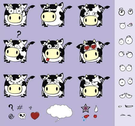 cow ball set cartoon Vector